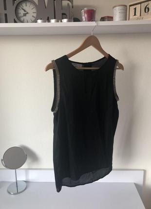 Чёрная блузка футболка вечерняя на новый год шифон