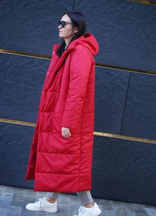 Женское зимнее пальто стеганое с капюшоном, пальто на синтепоне длинное