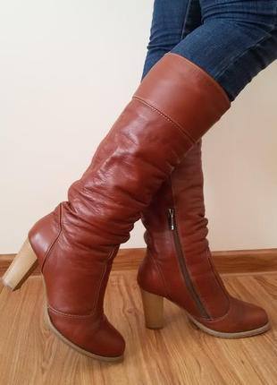 Сапоги зимние кожаные на каблуке рыжие коричневые 39 р.