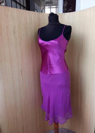 Шёлковое платье сарафан mango