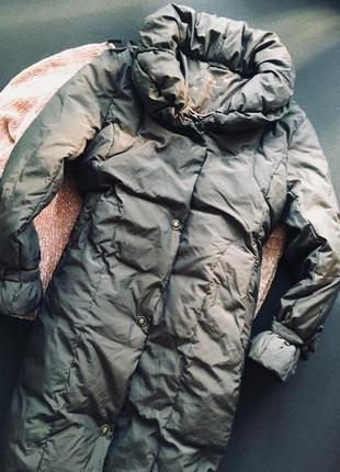 Темно-коричнева куртка міді хл-ххл