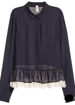 Шифоновая блуза h&m с кружевом
