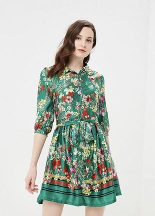 Зеленое платье в цветочный принт zeza