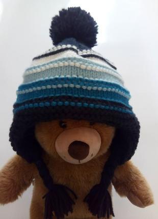 Теплая вязаная шапка на флисе 3-6лет. tu