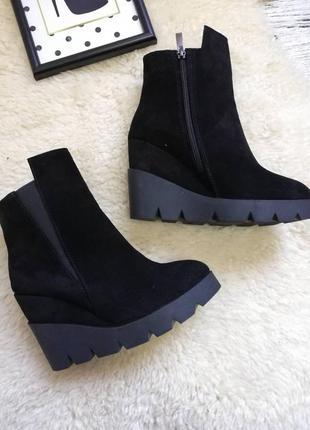 Натуральные замшевые ботинки на платформе замш замша