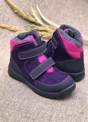 Модные зимние ботинки для девочки, натуральный мех, защита от снега