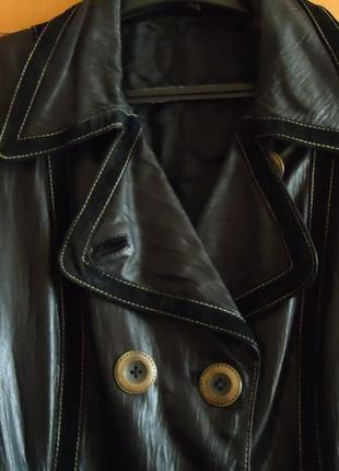 Кожаное пальто, плащ  демисезонное