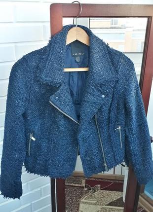Твидовая куртка косуха с бахрамой и люрексом курточка ветровка в составе шерсть