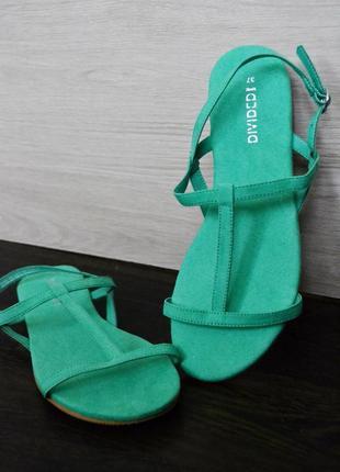 Бомбовые бирюзовые сандалии под замш h&m размеры 36 37