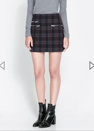 Zara юбка спідниця в клітинку
