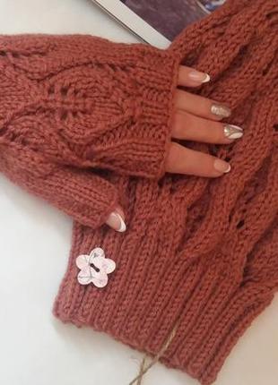 Осенний комплект (шапка и митенки), hand made, шерсть