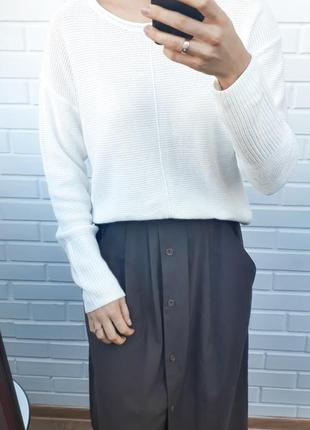 Белоснежный белый хлопковый свитер джемпер кардиган кофта
