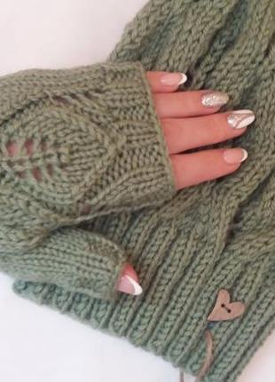Осенние вязаные митенки, hand made, шерсть