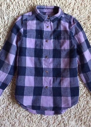 Стильная рубашка в клетку на кнопочках с люрексом на 6 лет bluezoo