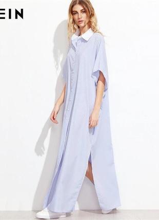 Платье рубашка свободного кроя с разрезами в полоску shein