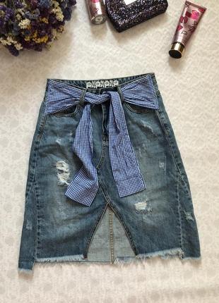Крутая джинсовая юбка трапеция м - размер