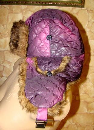 Шапка-ушанка зимняя (искусств.мех+ стеганая плащевка)