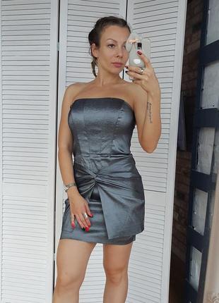 Платье корсет металлик графит jessica mc clintock