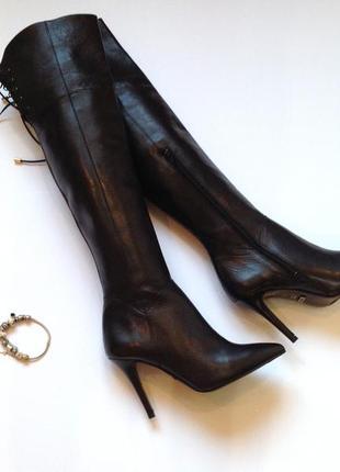 Кожаные брендовые высокие сапоги ботфорты на каблуке buffalo