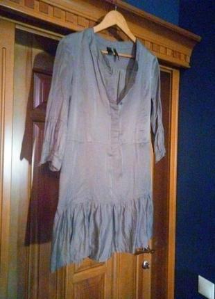 Платье свободного кроя платье-рубашка приятного бежево-серого цвета