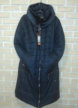 Р. 54 зима пальто капюшон куртка стиль батал легко