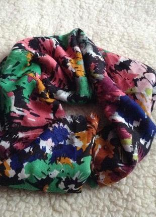 Стильный разноцветный принтовый шарф палантин лен вискоза платок