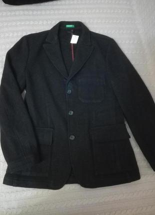 Мужской шерстяной пиджак жакет benetton, р.м(46)