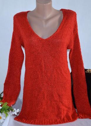 Брендовая красная теплая кофта свитер с разрезами по бокам next акрил1