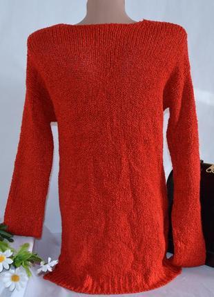 Брендовая красная теплая кофта свитер с разрезами по бокам next акрил2