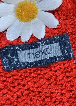 Брендовая красная теплая кофта свитер с разрезами по бокам next акрил3