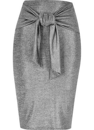 Серебристая юбка карандаш миди