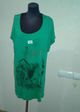 Туника женская с коротким рукавом зеленая с принтом