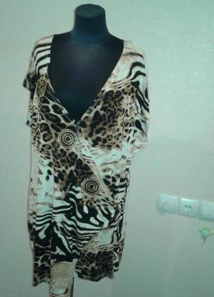 Туника женская с коротким рукавом тигровая metin
