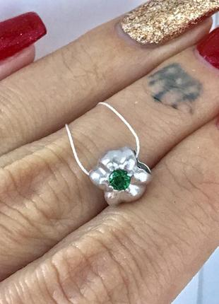 Шарм серебро 925 мальвина  зеленая 3492