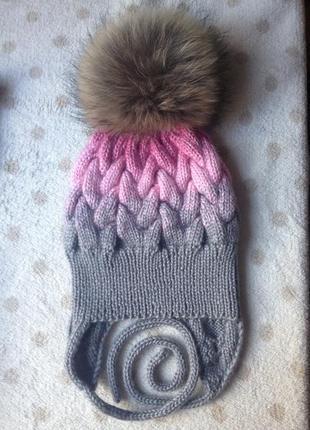 Теплющая шапка для девочки 4-7 лет