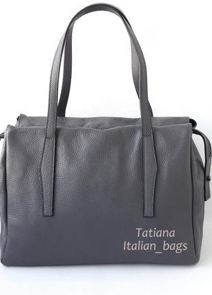 Стильная кожаная сумка с удобными ручками, серая графит. италия