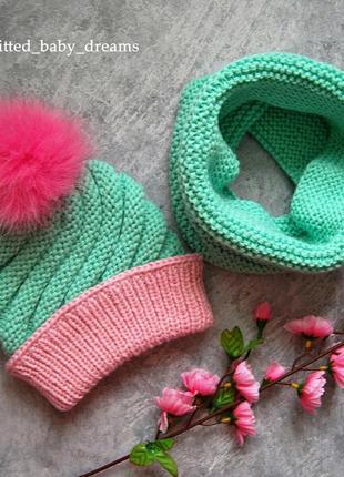 Осенне-весенний комплект, шапка и снуд на 1-2 года
