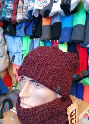 Набор-комплект шапка вязаная бини (чулок) + снуд  мужская  \  ozzi