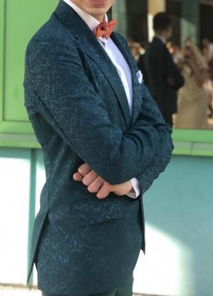 Свадебный выпускной изумрудный зелёный мужской костюм на высокий рост