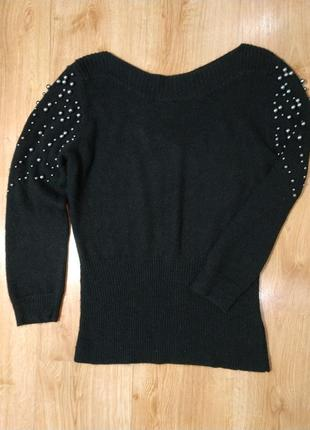 Шикарный черный свитерок с жемчужинами next
