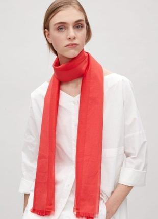 Cos шарф палантин тонкий хлопок и шелк красный