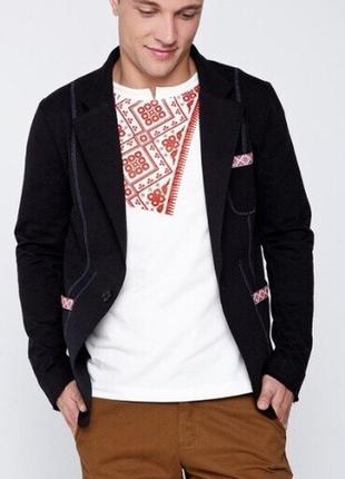 Стильный мужской пиджак вышиванка nenka ненка чёрный школьный