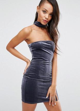 Ліквідація товару до 10 грудня 2018 !!! облегающее платье с бархатным чокером boohoo