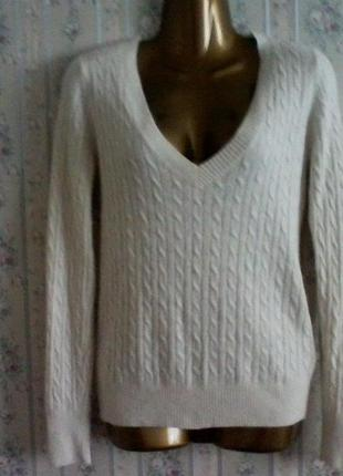 Джемпер с шерстью и ангорой на основе вискозы, свитер в косы, разм 44-46