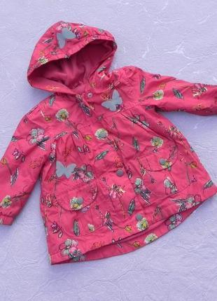 Куртка плащ пальто демисезонное плащевка на флисе 12-18месяцев 86см