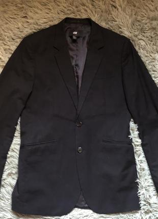 Чёрный мужской пиджак школьный h&m стильный чёрный 48-50 размер