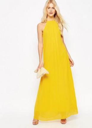 Свободное платье макси с высоким воротом asos