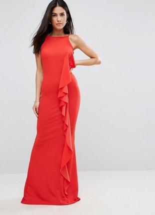 Платье макси с оборками club l