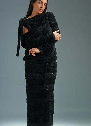 Новинка сезона! костюм женский трикотажный с юбкой макси размеры: 48-52, 54-56