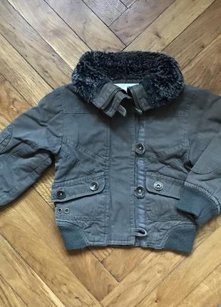 Куртка курточка демисезонная с меховым воротником 92см